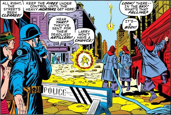 A great deal is communicated in just one panel where Romita pushes the central figures of the story to the far background, and lets us glimpse the full scene as a public bystander might.