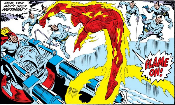 Ross Andru's Human Torch is exceptionally lithe and vibrant. Even Johnny's figure captures the flickering essence of fiery flames.