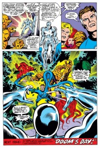 On this page, the image of the Silver Surfer himself joins the collective FF in his destructive torment of them.