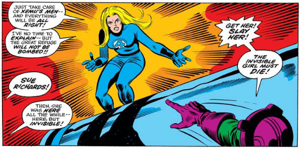 A dramatic return by Susan Richards, drawn by Rich Buckler